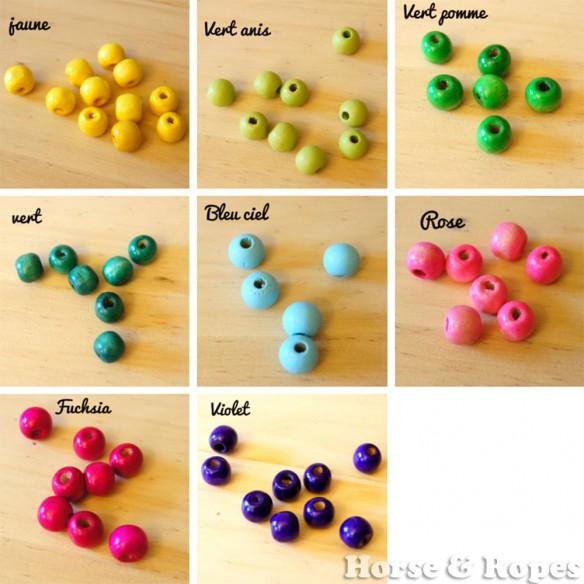 Perles en bois colorées