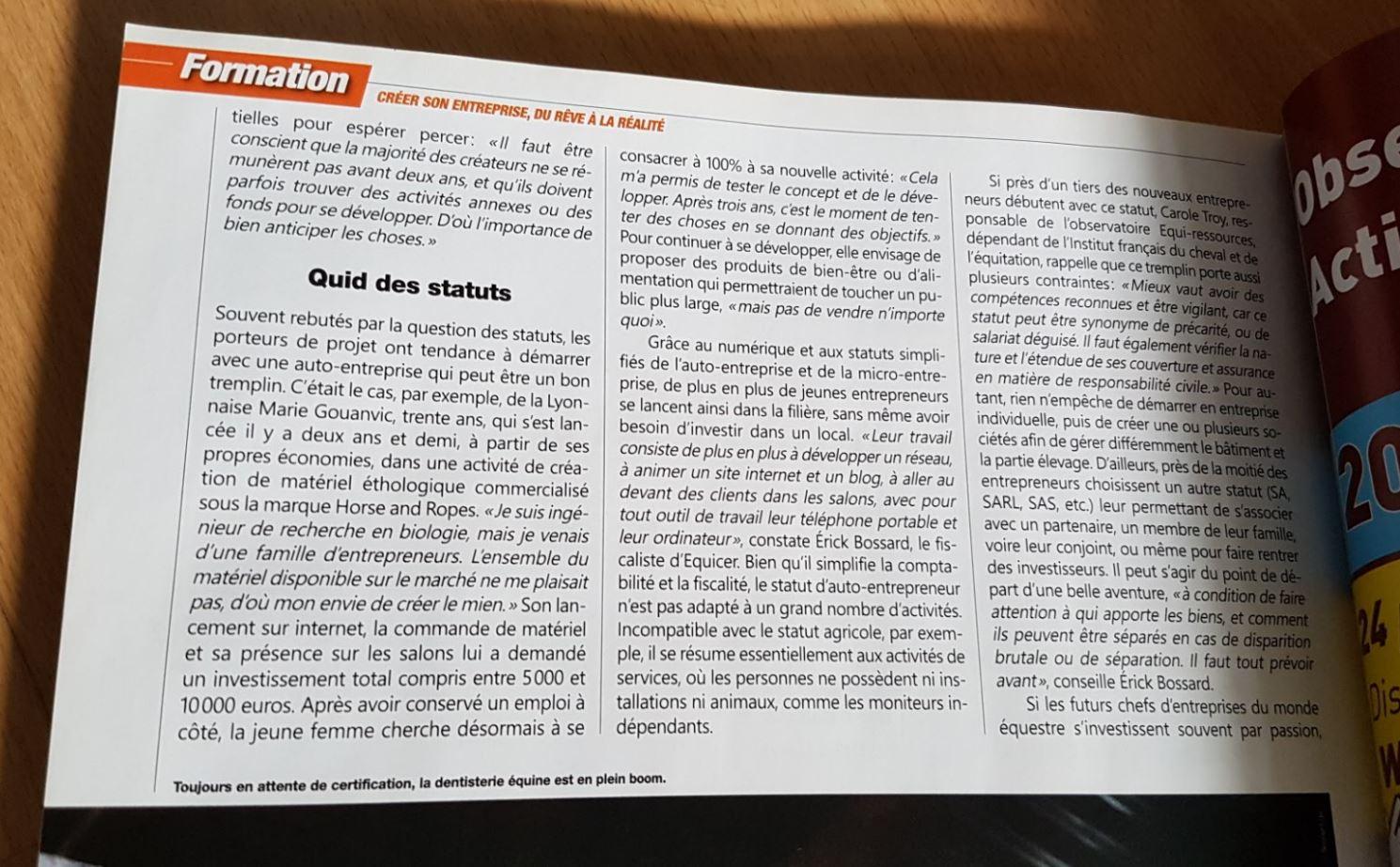Article dans le journal Grand prix magazine